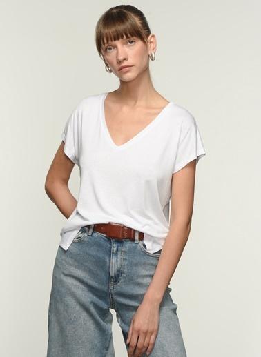 NGSTYLE NGKSS21TS0002 Basic Viskon Tişört Beyaz